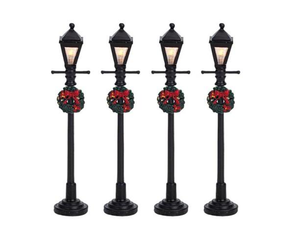 GAS LANTERN STREET LAMP, SET OF 4, B/O (4.5V) 821