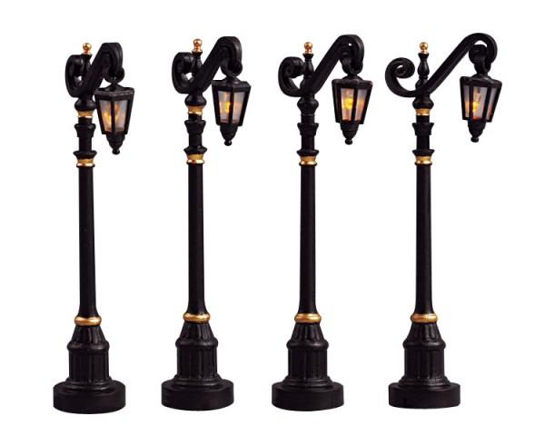 Lemax 54313 - COLONIAL STREET LAMP, SET OF 4, B/O (4.5V) Neu