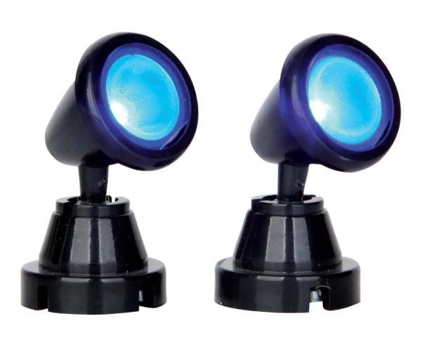 Lemax 54945 - ROUND SPOT LIGHT, BLUE, SET OF 2, B/O (4.5V) - Weihnachtsdorf Winterdorf