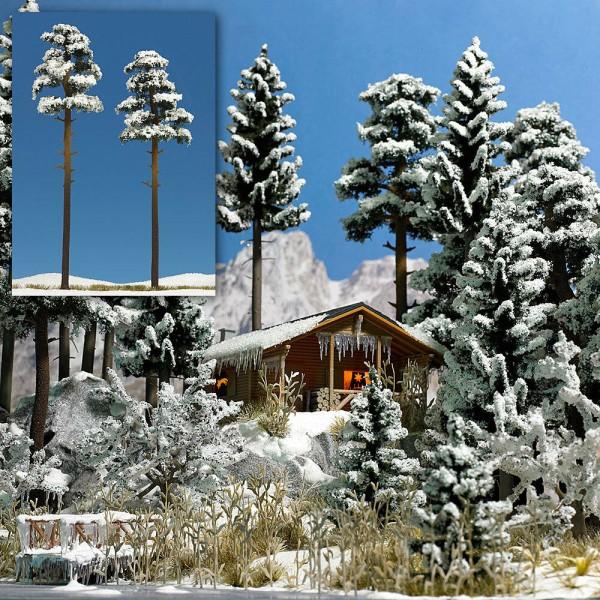 Busch 6156 H0 - 2 Schnee-Kiefern ca. 195 und 210 mm hoch